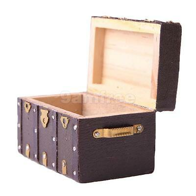 Wooden Vintage Storage Box Case for 1:12 Doll House Miniature Home Accessory