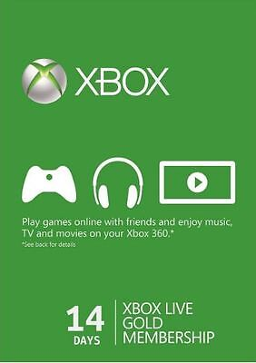 Xbox Live 14 Days Trial Gold Membership for Xbox One / 360 2 Week Card Instant