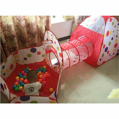 3In1 Indoor Kids Play Tent PlayHouse Tents Tunnel Ball Pit Toy Christmas Gifts