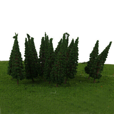 50x Dark Green Trees Model Layout Train Railway Diorama Scenery 1:100 HO OO