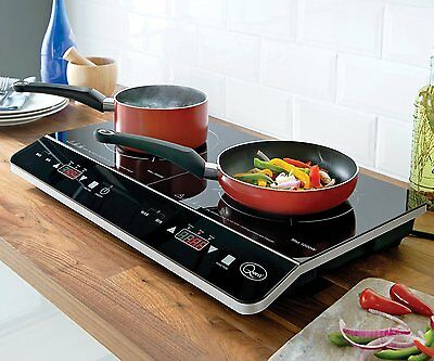 Electric Induction Cooker Hob Portable Double Digital LCD LED 2800W Black New