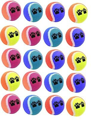 20 x AQS Coloured Tennis Balls For Pets Puppy Play Dog Toys Bouncing Ball New