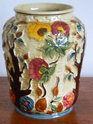 """Vintage H. J. Wood 'Indian Tree' Majolica Vase No 575. 8.75"""" Lovely Example"""