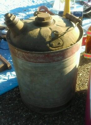 ANTIQUE VINTAGE SMALL METAL GAS CAN WITH OLD red PAINT- missing smaller cap