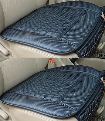 2 x Universal PU Leather Black Bamboo Charcoal Car Office Chair Seat Cover Pads
