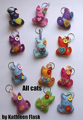 "PaTchyZ Original Felt Creations Random Key Chain Animal Button CAT 2"" X 2.75"""