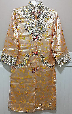 NAM HA SAIGON Japanese Kimono Dress Size 40 Robe Jacket Silky Embroidered Lined