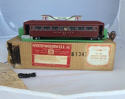 AMERICAN FLYER S GAUGE 766 Guilford ANIMATED STATION &  735 PASSENGER CAR