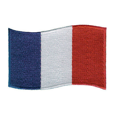 """VEGASBEE® FRANCE FLAG FRENCH EMBROIDERED IRON-ON PATCH 3"""" x 2"""" JACKET JEANS BAG"""