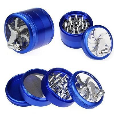 """Blue Herb Grinder w/ Handle Spice Crusher for Tobacco Hand Muller 2.5"""" 4 Piece"""