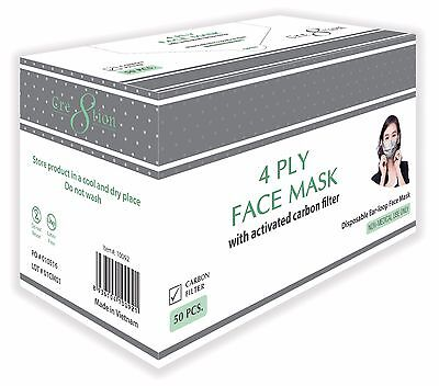 Disposable Charcoal Earloop Face Mask w/ Activated Carbon Filter, 4 PLY 50/bx