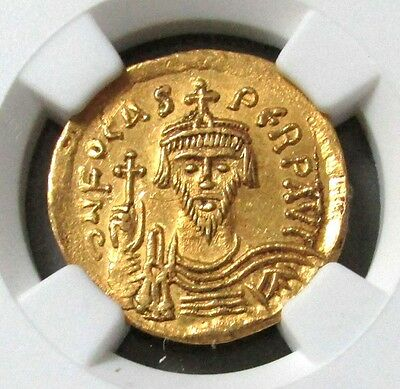 602-610 Ad Gold Byzantine Empire Phocas Av Solidus Ngc Choice About Uncirculated