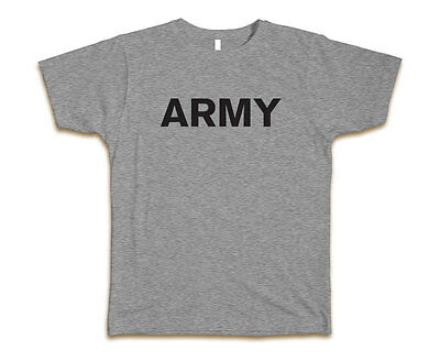 US Army Athletic Heather Gray Physical Training Men's Gildan T-Shirt Tee - Grey