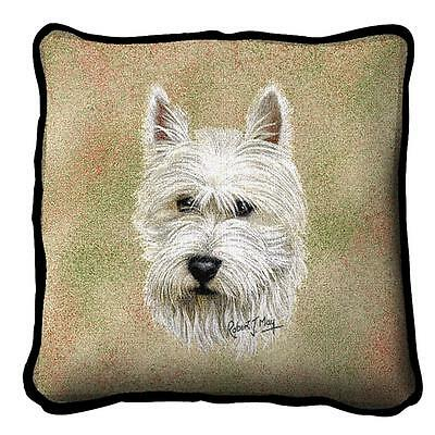 "Westie West Highland Terrier Pillow Pure Country Weavers 17"" x 17"" Cotton Dog"