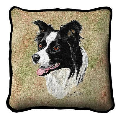 """Border Collie Pillow Pure Country Weavers 17"""" x 17""""  100% Cotton Dog Breed"""
