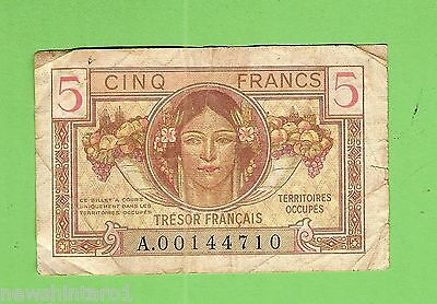 Post  Wwii France Occupied Germany / Austria 5  Franc  Banknote  A 00144710