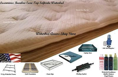 Full Size SOFTSIDE WATERBED with Luxurious Bamboo Euro Top Mattress & Semi Wave