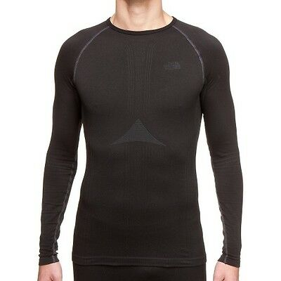 North Face Hybrid L S Crew Neck Mens Base Layer Top - Tnf Black All Sizes
