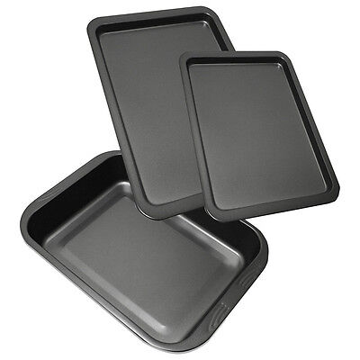 3 Pieces New Non Stick Oven Baking Roasting Pan Dish Roast Tin Trays Set BY