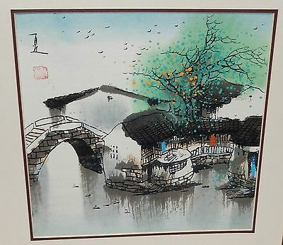Japanese Watercolor River Bridge Landscape Painting Signed