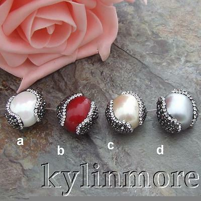 HM011 1 Pcs 18x20mm Sea Shell Pearl Egg Beads Trimmed With Crystal Zircon