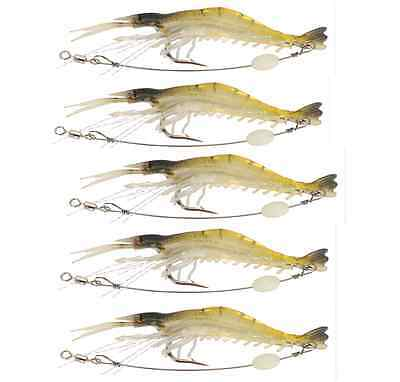 5x Soft Plastic Fishing Lures Tackle Prawn Shrimp Glow Bait Flathead Bream Lure