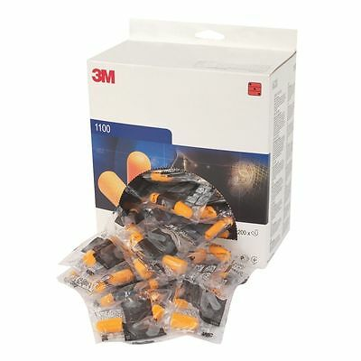 Box of 200 Pairs Ear Plugs (400) 3M 1100 SNR 37dB Disposable Foam Pack Uncorded