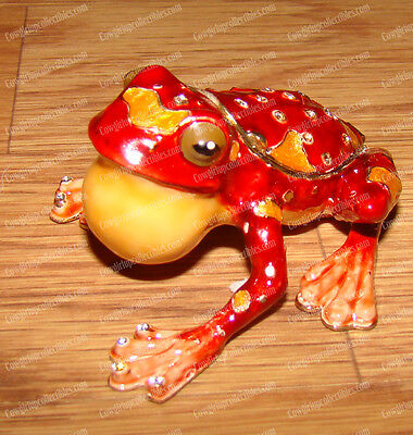 Tropical Tree FROG, 3792 Bejeweled Baked Enamel Trinket Box