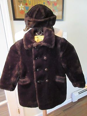 """Vintage 1940s Boys Brown Pile Coat & Matching Hat Size 4, """"Solitaire"""" Brand"""