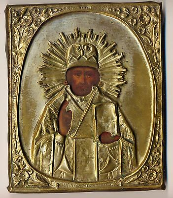 Antique Russian imperial  Icon  St. Nikolay  ( 2208)