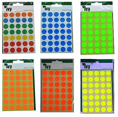 IVY 13mm Sticky Dot Labels Self Adhesive Stickers Circle Round Spot