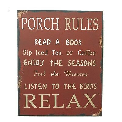 """Antique Metal Rustic Porch Rules Sign Wall Art Decor 13""""X12"""" , Red"""
