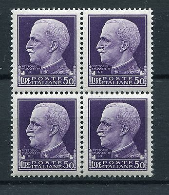 ITALY 1929 Definitives 50 LIRE MNH BLOCK x4 Stamps