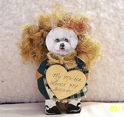 hand painted  Bichon Frise vintage solid wood funny decoration