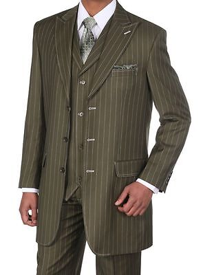 Men's 3 pcs Wool Feel Classic Gangster Pinstripe Suits with Vest 5903 Olive