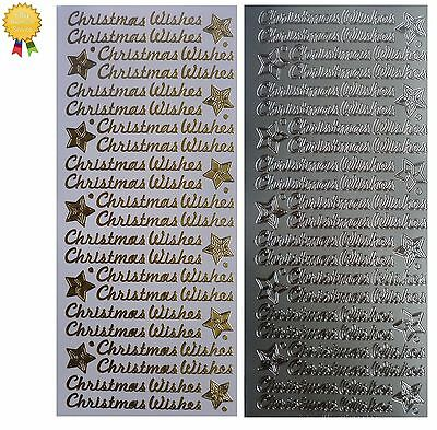 CHRISTMAS WISHES Peel Off Stickers Stars Card Making Sentiments Gold or Silver