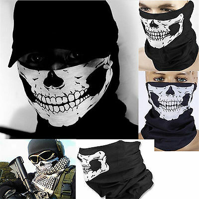 Men Sports Black Skull Face Tube Mask Neck Gaiter Dust Shield Seamless Bandana