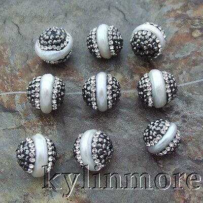 HB005 10PCS 12x12mm White Coin Pearl Trimmed With Crystal ZirconConnector Beads