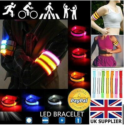 NEW Led Safety Arm Band Reflective Sports Running Cycling 4pc for £12.99