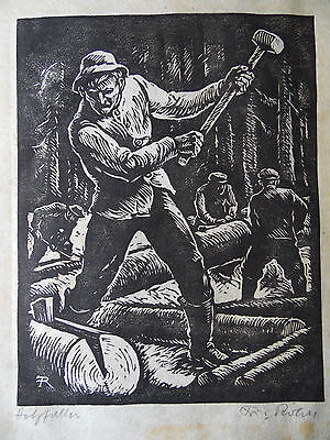 Fritz Rohrs 'Holzfaller' The Woodcutter. Antique Signed Woodcut. Listed artist.