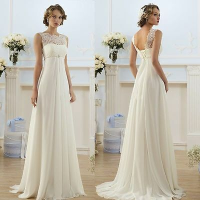 New White/Ivory Chiffon Wedding Dress Bridal Gown Stock Size 6-8-10-12-14-16-18