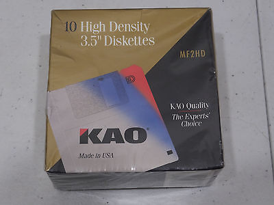"KAO MF2HD 3.5"" High Density Floppy Diskettes 2mb Pack of 10 Disks New Sealed"