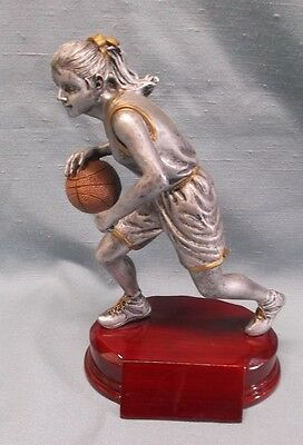 silver female BASKETBALL statue trophy resin large size