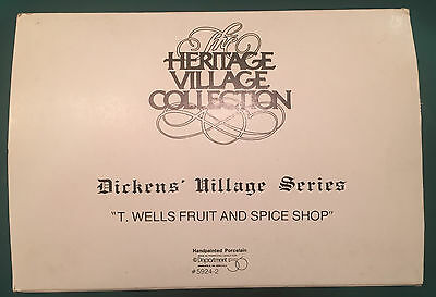 Department 56 Heritage Dickens Village T. Wells Fruit and Spice Shop 59242