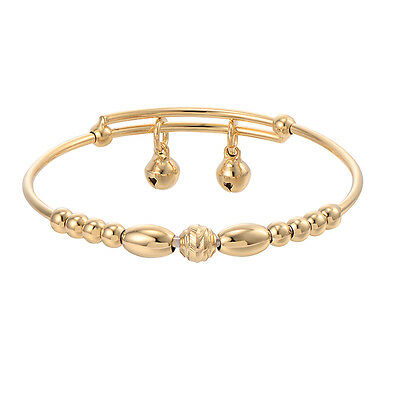 Vintage Toddler Jewelry Beads Yellow Gold Filled Bell Baby Bangle Bracelet Child