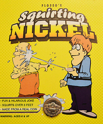 Squirting Nickel - Real Coin! Shoots a Stream of Water 6 Feet - Great Prank Gag