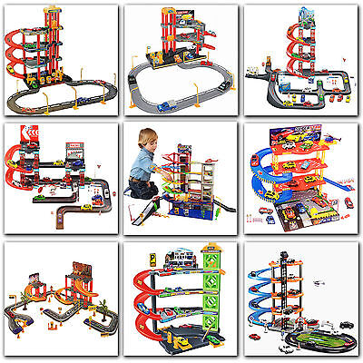 Kids Xmas Toy Multi Level Cars Parking Garage Tower W/lift Vehicles Helicopter