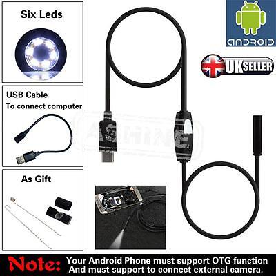 UK 5.5 7 mm 6 LED Android Endoscope Borescope Waterproof Inspection Video Camera