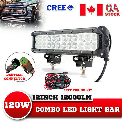12Inch 120W CREE Led Light Bar Flood Spot Combo Offroad 4WD SUV ATV Driving Lamp
