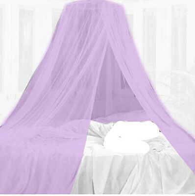 Purple Mosquito Net Canopy Dome Insect Protection Single Entry Double King Size